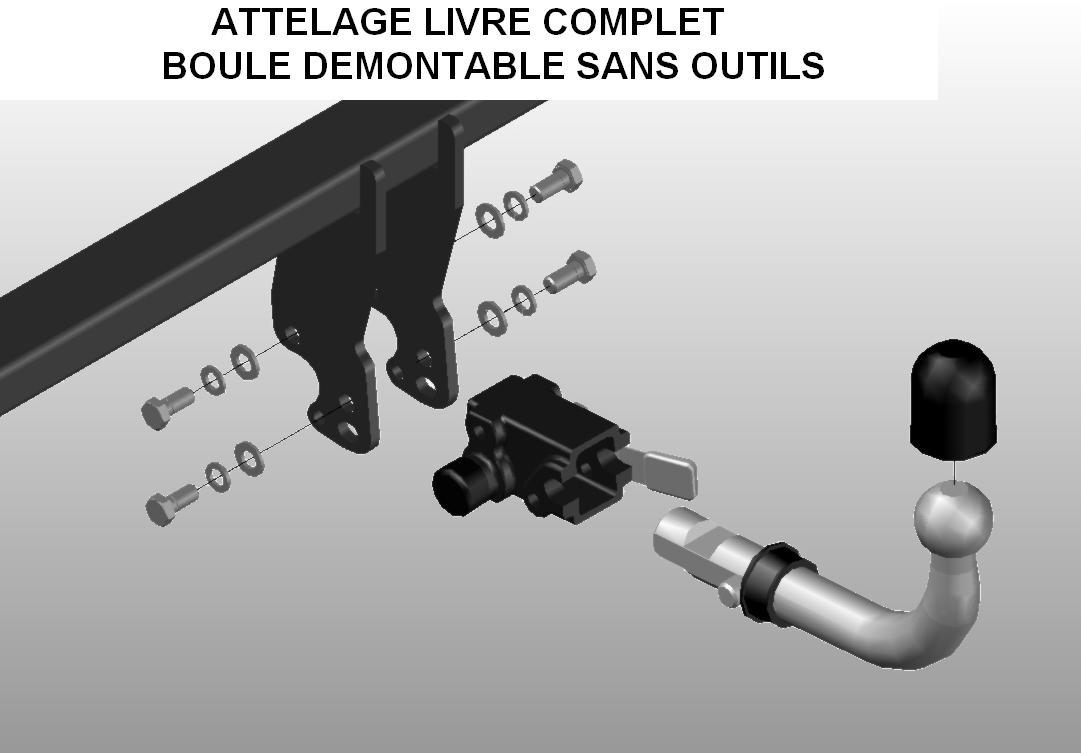 ATTELAGE PEUGEOT EXPERT II sauf suspensions pneumatiques avec FAISCEAU SPECIFIQUE 7 broches